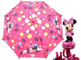 Disney Minnie Mouse Kids Umbrella -Pink Polka Dots with 3D Figure Handle