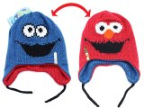 Sesame Street Elmo Cookie Monster Knitted Beanie Hat - Reversible