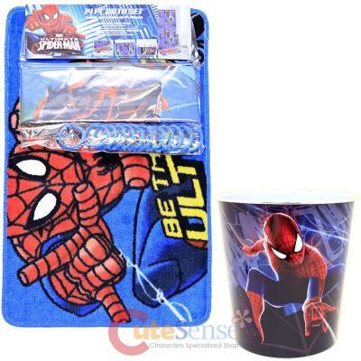 Marvel Spiderman 15pc Bath Set Bathroom Rug Shower Curtain Wastecan