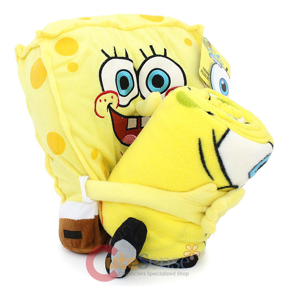 Spongebob Squarepants Throw And Pillow Set : Nick Jr Spongebob Plush Doll Pillow with Fleece Throw Blanket 18 Plush 50x60 eBay