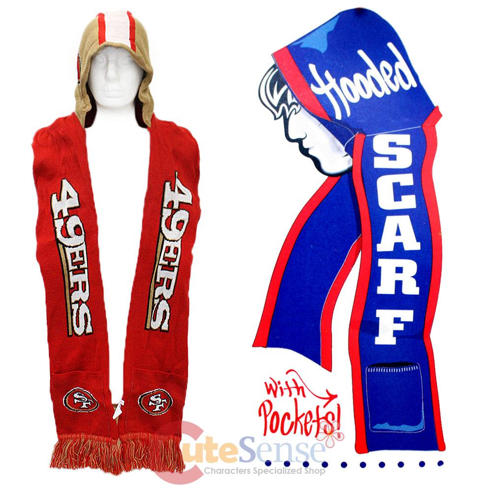 san francisco 49ers hooded scarf with pocket