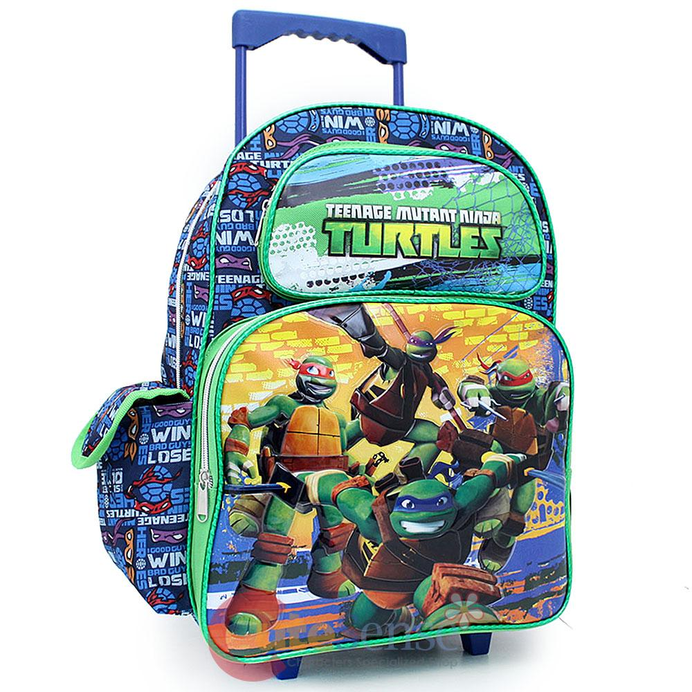 "TMNT Ninja Turtles School Roller Backpack 16"" Large Rolling ..."
