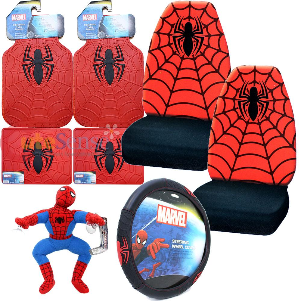 marvel spiderman car seat covers accessories complete 8pc set web spider logo ebay. Black Bedroom Furniture Sets. Home Design Ideas
