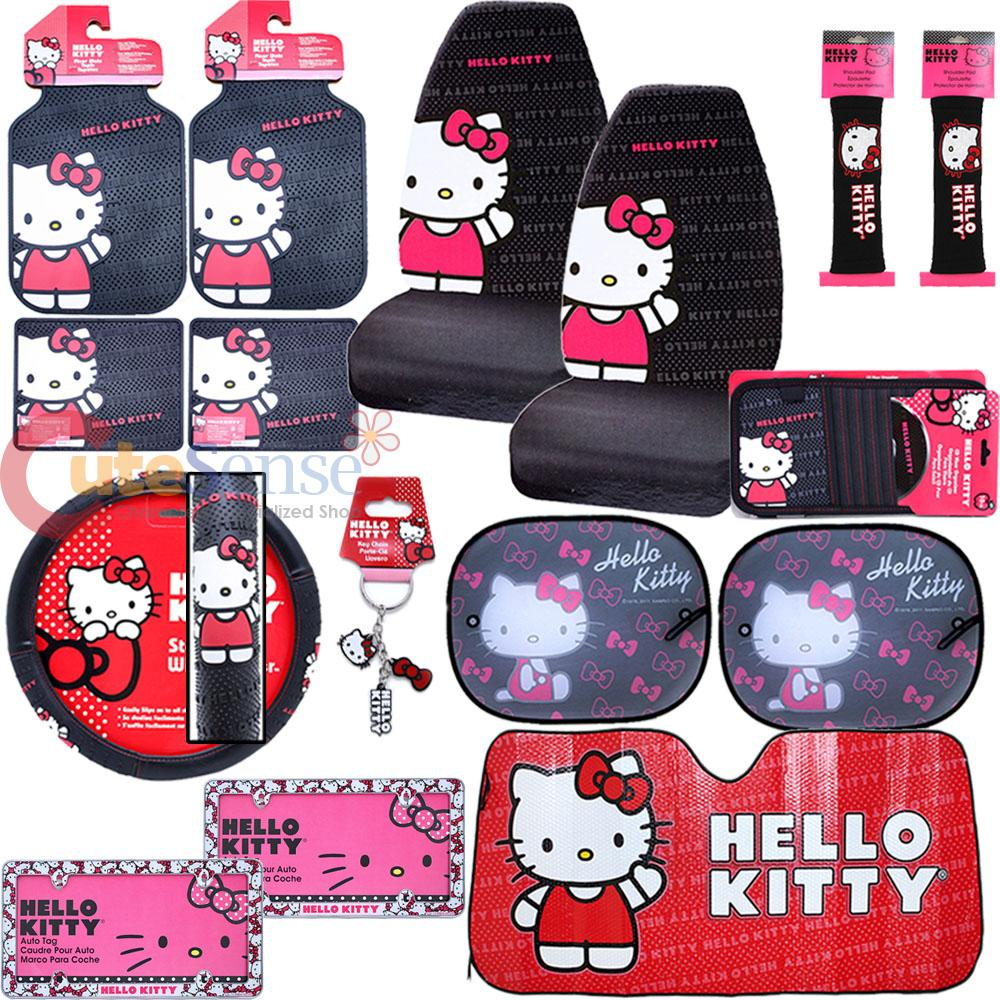 hello kitty core car seat covers 16pc set w full sunshade belt cover frames ebay. Black Bedroom Furniture Sets. Home Design Ideas