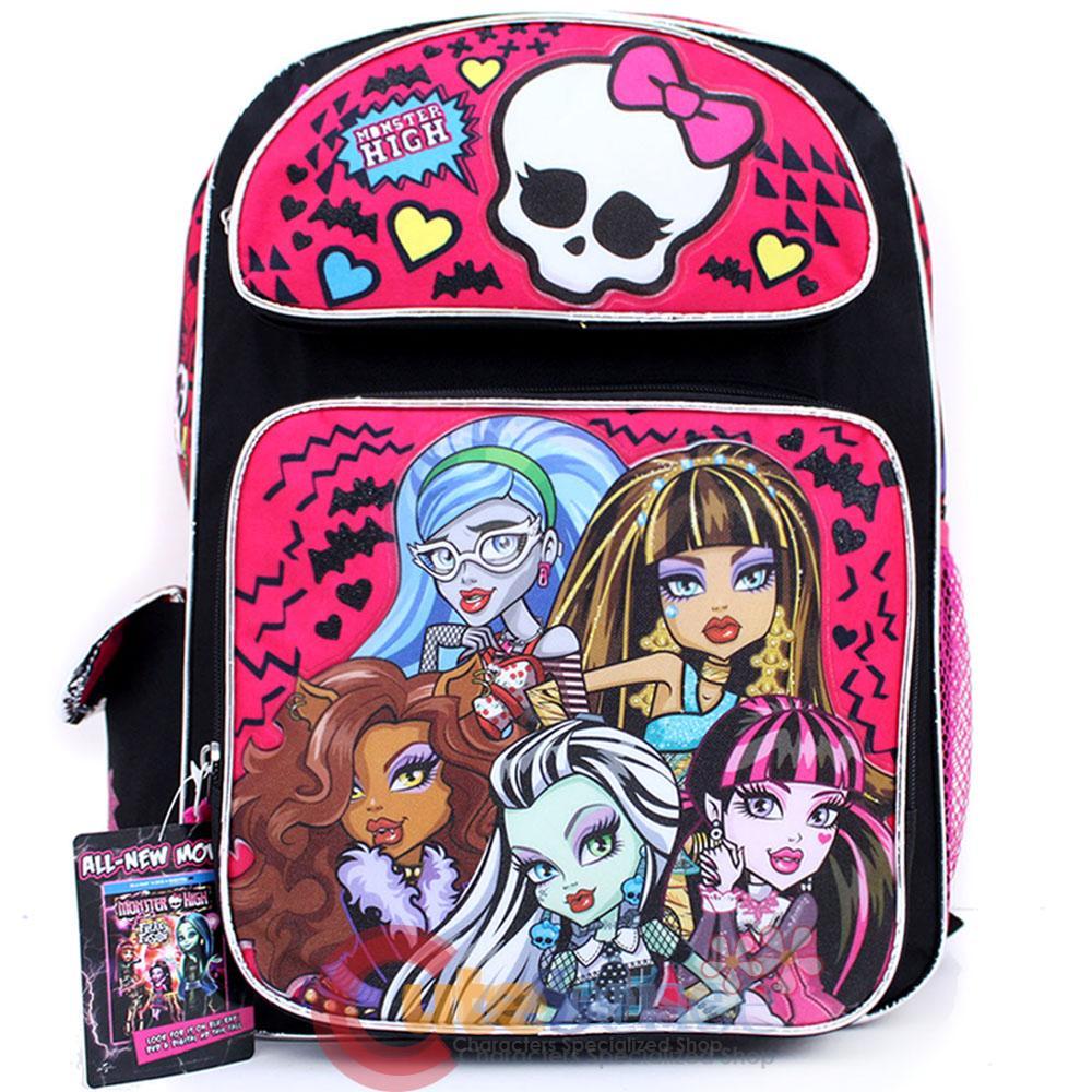 "Details about Monster High School Backpack Group 16"" Large Book Bag ..."