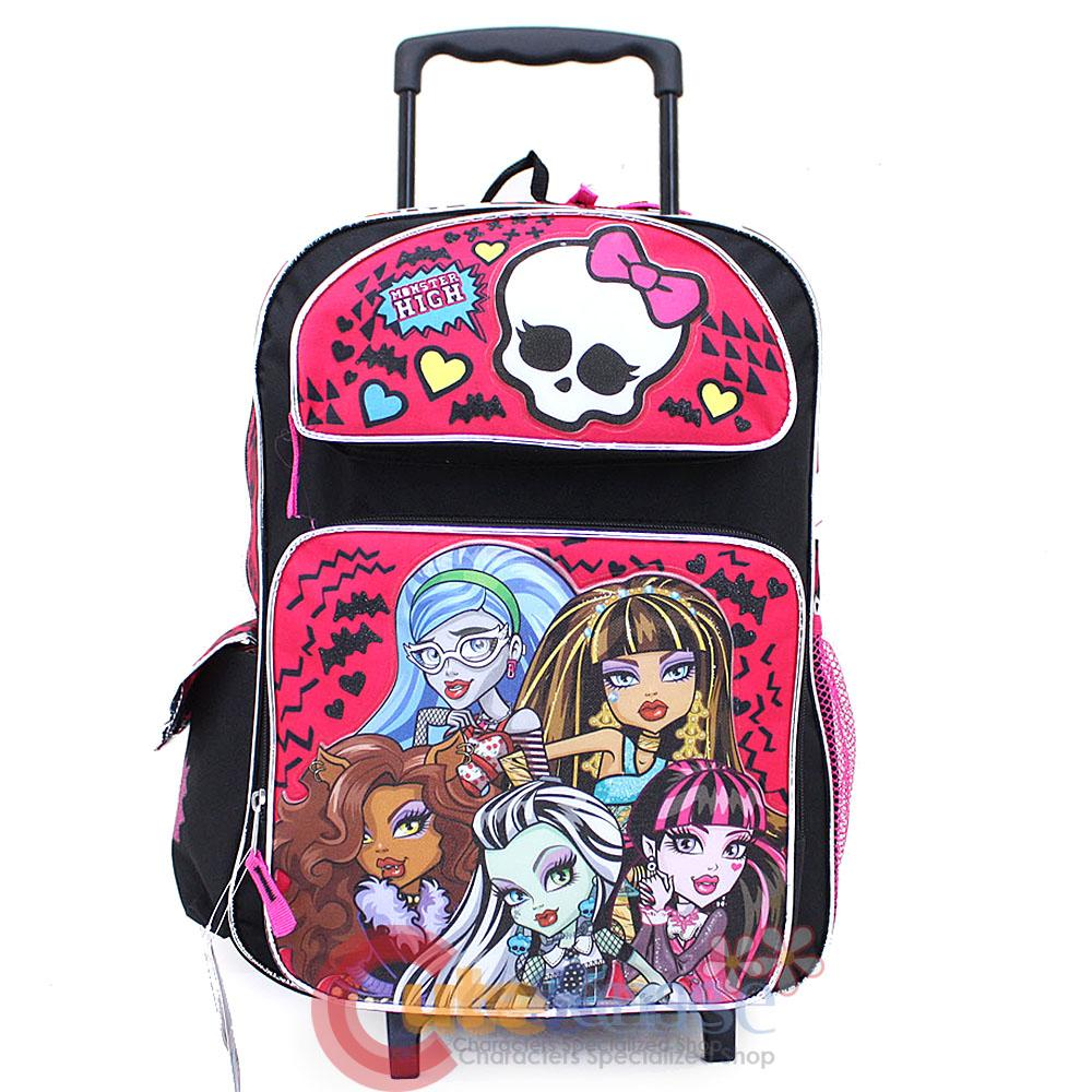 "Monster High Roller School Backpack 16"" Large Rolling Trolley Bag ..."