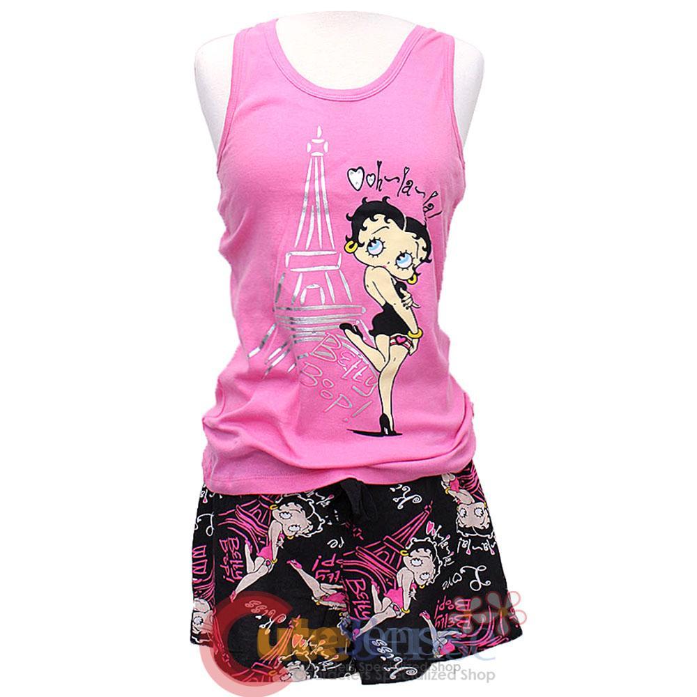 Betty Boop Pajama Set Oohlala Tank Top Short Pants 2pc Set Pink ...