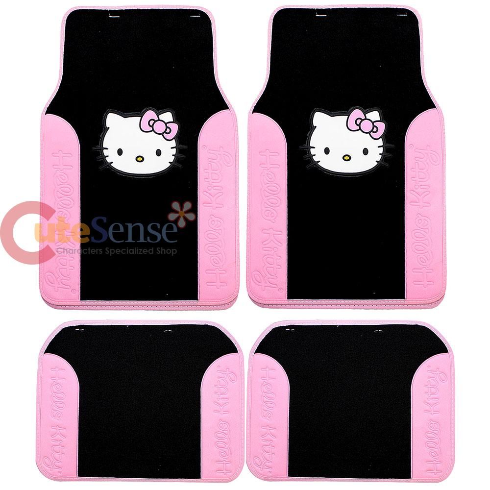 Hello Kitty 4pc Floor Mats Pink Black Car Auto Accessory on PopScreen