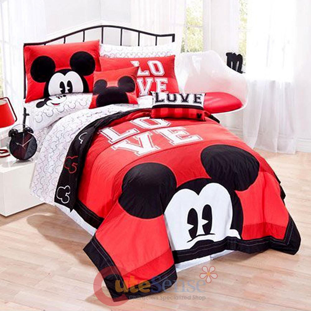 Disney Mickey Mouse Classic Luv Bedding Quilt Set 3pc Full