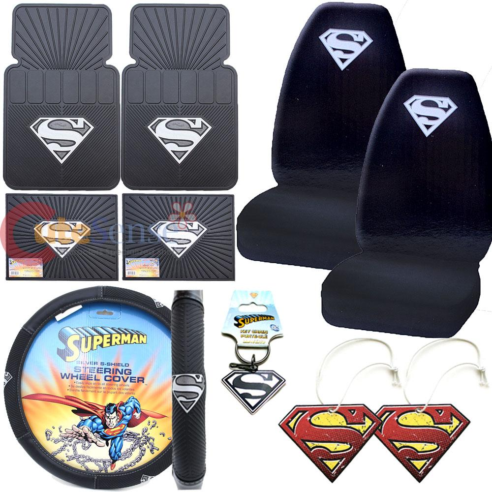 Dc Comics Superman Car Steering Wheel Cover Silver Shield