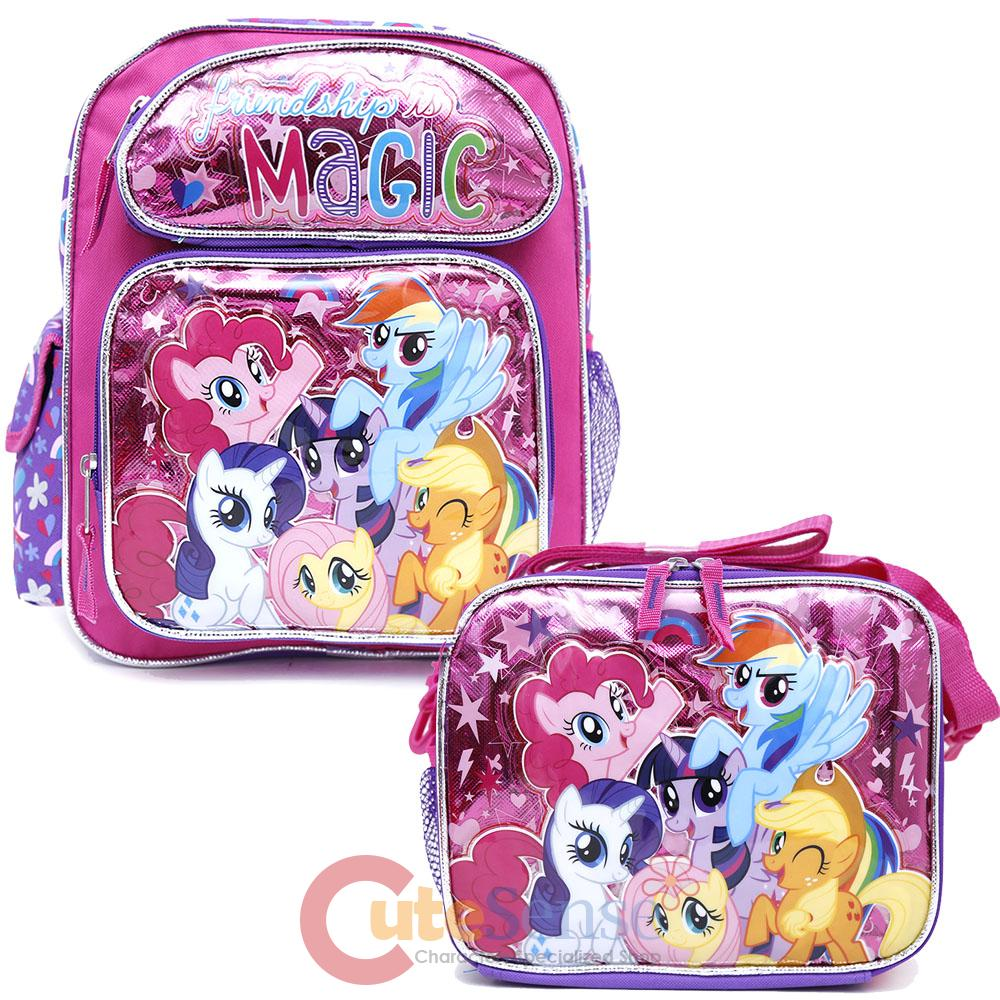 my little pony 13 school backpack lunch bag 2pc girls bag. Black Bedroom Furniture Sets. Home Design Ideas
