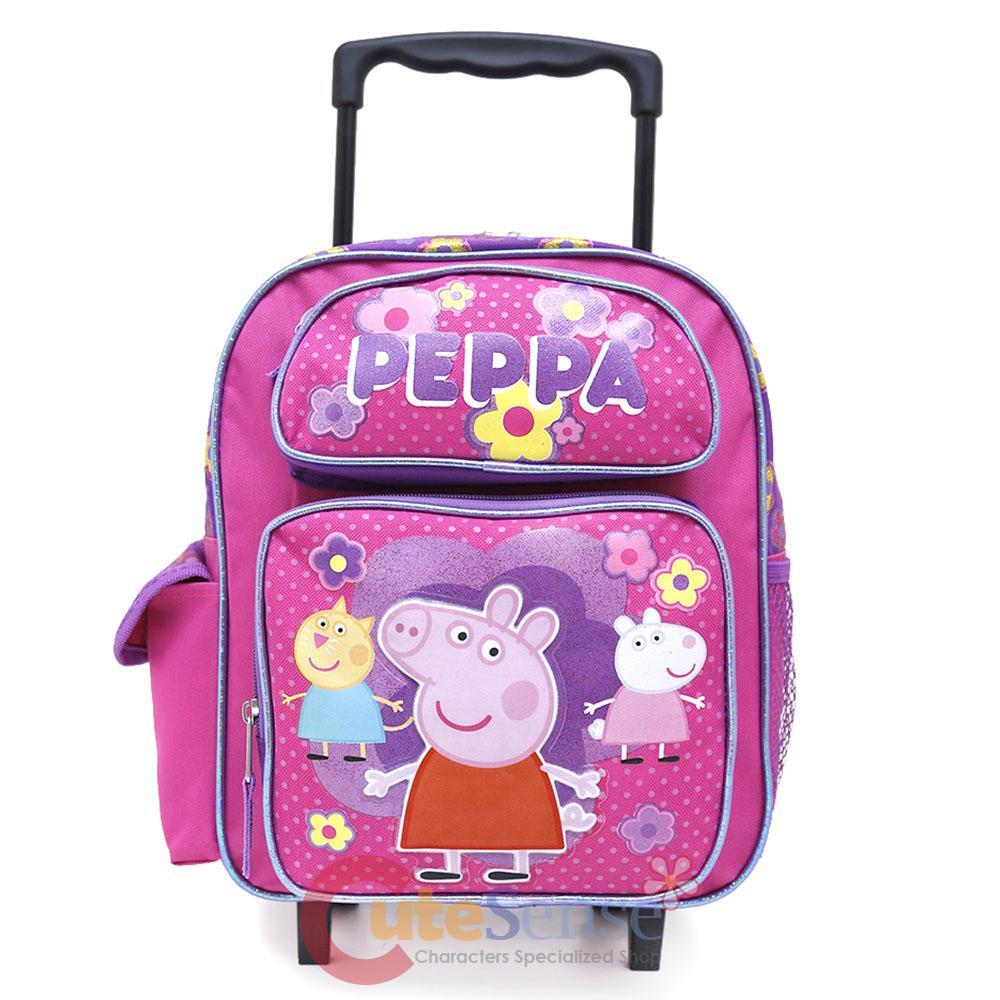 peppa pig toddler school wheeled backpack 12 small roller bag trolley luggage ebay. Black Bedroom Furniture Sets. Home Design Ideas