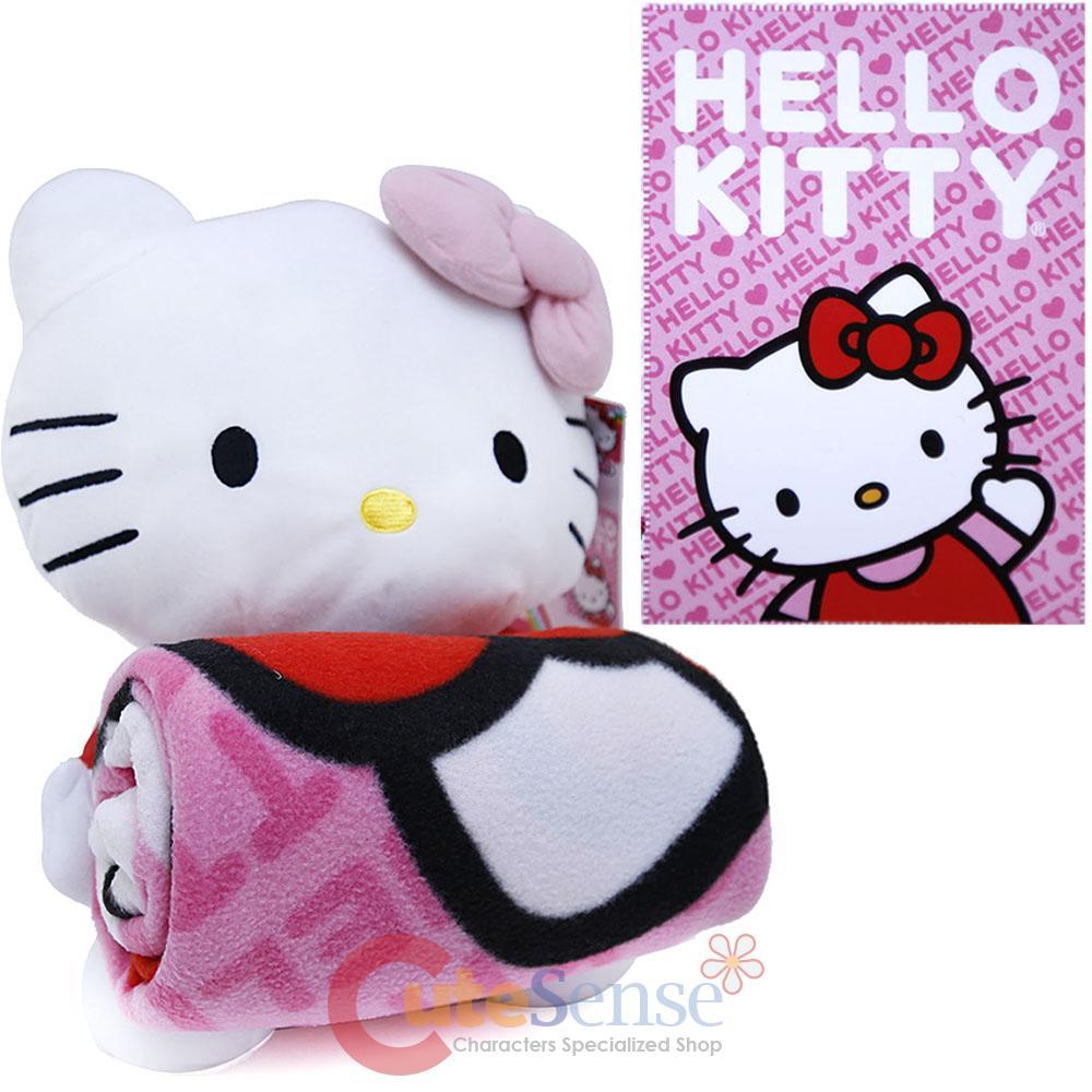 Hello Kitty Pillow And Throw Blanket Set : Sanrio Hello Kitty Fleece Blanket Pillow Set Pink Throw with Plush Doll set eBay