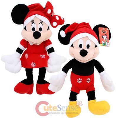 Christmas Minnie Mouse Plush.Disney Mickey Minnie Mouse Christmas Holiday Plush Doll 18 Set