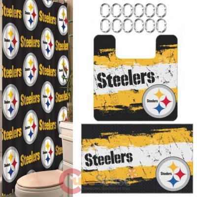 NFL Pittsburgh Steelers 15pc Bathroom Rug And Shower Curtain Bath Set