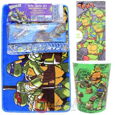 TMNT Ninja Turtles 16pc Bath Set Bathroom Rug Shower Curtain Wastecan Towel - TMNT Ninja Turtles 16pc Bath Set Bathroom Rug Shower Curtain