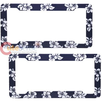 Hawaiian Flowers License Plate Frame 2pc Set - Grey Flowers