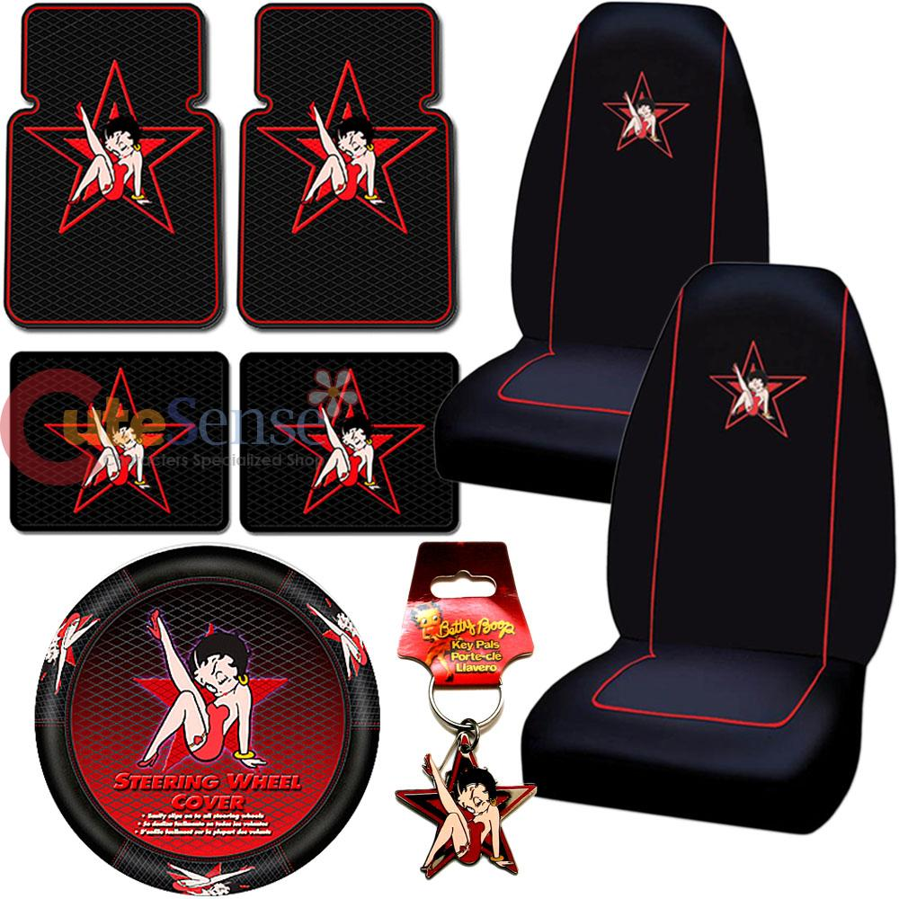 Betty Boop Star Car Seat Cover Auto Accessories Set 8pc Floor Mat
