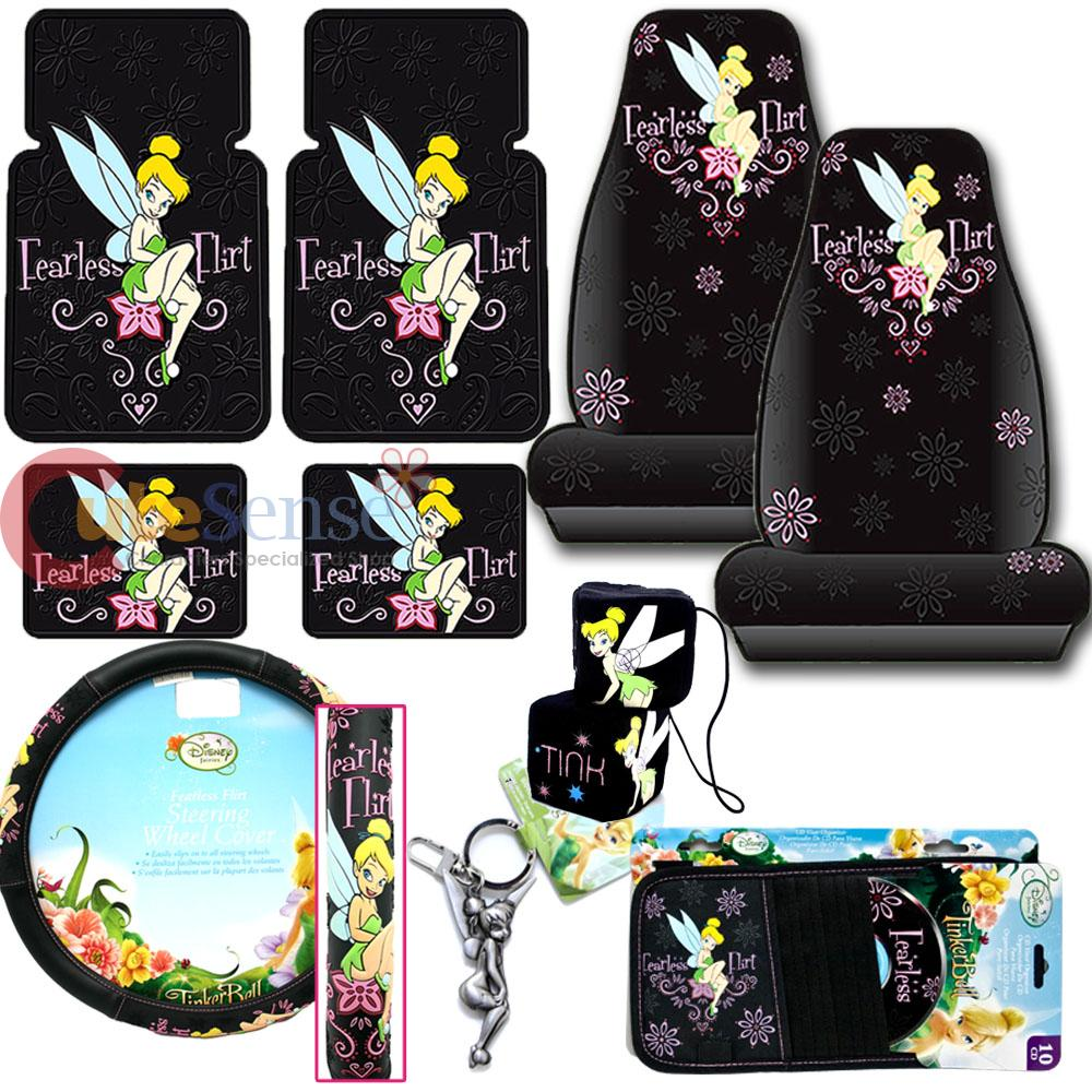 Tinkerbell Fearless Flirt CAR Seat Covers Accessories 10pc SET With