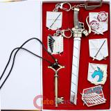 Attack on Titan Shingeki no Kyojin Emblem Wall Sword Badges Key Chain 8pc Premium  Set