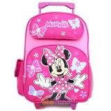 "Disney Minnie Mouse Large School Roller Backpack 16"" Rolling Bag- Candy Bow"