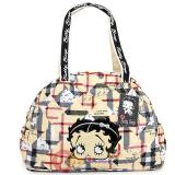 Betty Boop Quilted Diaper Bag Hand  with Pad - Brown Checkered