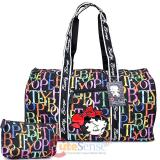 Betty Boop Quilted  Duffle Travel Bag  Diaper Gym Bag -Rainbow Typo Black
