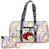 Betty Boop Quilted  Duffle Travel Bag  Diaper Gym Bag -Rainbow Typo White