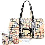 Betty Boop Quilted  Duffle Travel Bag  Diaper Gym Bag - Brown Checkered