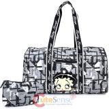 Betty Boop Quilted  Duffle Travel Bag  Diaper Gym Bag - Black Checkered