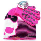 Monster High Skull Logo 2pc Gloves, Beanie Set - Pink Strip