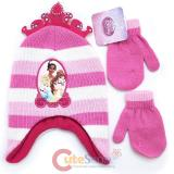 Dinsey Pricness Tiara Toddler Beanie and  Mitten Gloves Set