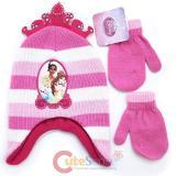 Dinsey Pricness Tiara Toddler Beanie and  Mitten Gloves Set