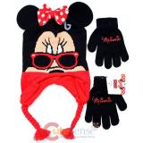 Disney Minnie Mouse 3D Ear Laplander Beanie and Gloves Set - Red Bow