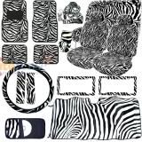Black White Zebra Animal Car Seat Covers Accessories Completed 18pc Set with Sun Shade