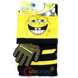 SpongeBob Kids Beanie  Gloves and  Scarf Set : Spongebob Giggling Face Black