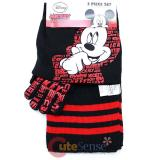 Disney Mickey Mouse   Kids Beanie  Gloves and  Scarf Set :  Black Red