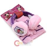 Disney Minnie Mouse Earmuff  Gloves and Scarf  3pc Set - Pink Purple