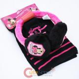 Disney Minnie Mouse Earmuff  Gloves and Scarf  3pc Set - Pink Black