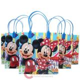 Disney Mickey Minnie Mouse  Party Gift Bag Set of 6 - Blue 8.5in