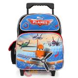 "Disney Cars Planes 12"" Small School Roller Backpack Rolling Bag -3D Swivel Propeller"