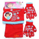 Dora The Explorer  Kids Beanie  Gloves and  Scarf Set : Dora's Snow Days Red