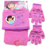Dora The Explorer  Kids Beanie  Gloves and  Scarf Set : Dora's Snow Days Pink
