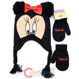 Disney Minnie Mouse 3D Ear Laplander Kids Beanie and Mitten Gloves Set