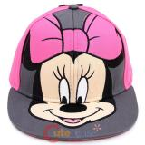 Disney Minnie Mouse Snapback Hat  Flat Bill Cap - Pink Bow Big Face