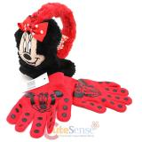 Disney Minnie Mouse 3D Face Earmuff  Gloves 2pc Set