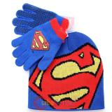 Super Man Knitted Beanie Non Skid Gloves Set :Big Logo