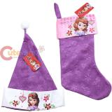 Disney Sofia The First  Christmas Stocking and Santa Hat  Set