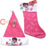 Disney Jr. Doc Mcstuffins Christmas Stocking and Santa Hat  Set
