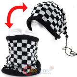 Black and White Checkered Plaid  Convertible  Neck Warmer Beanie